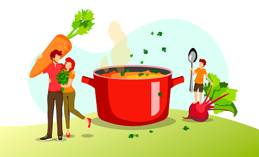 Young family, fresh vegetables and pan with soup.