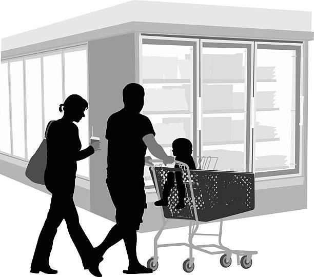 stockillustraties, clipart, cartoons en iconen met young family grocery shopping - bevroren voedsel