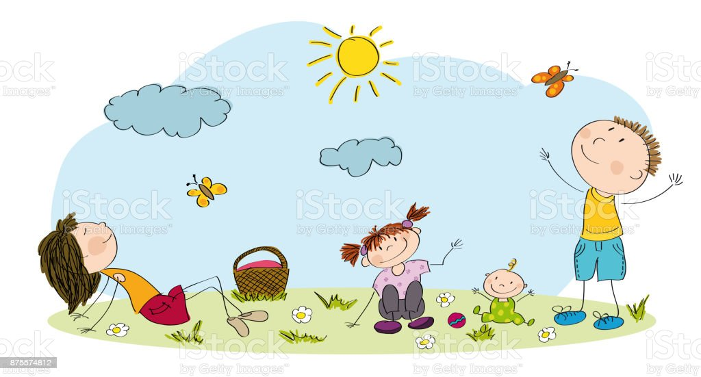 Young family having picnic in the park or meadow - original hand drawn illustration vector art illustration