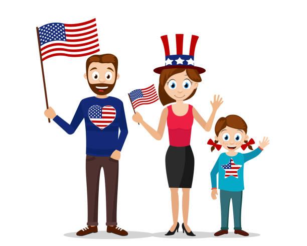 abd bayrağı tutan genç bir aile. i̇nsanlar amerikan bağımsızlık gününü kutluyor. - family 4th of july stock illustrations