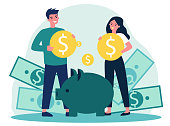 istock Young family investing money for future flat vector illustration 1221442174