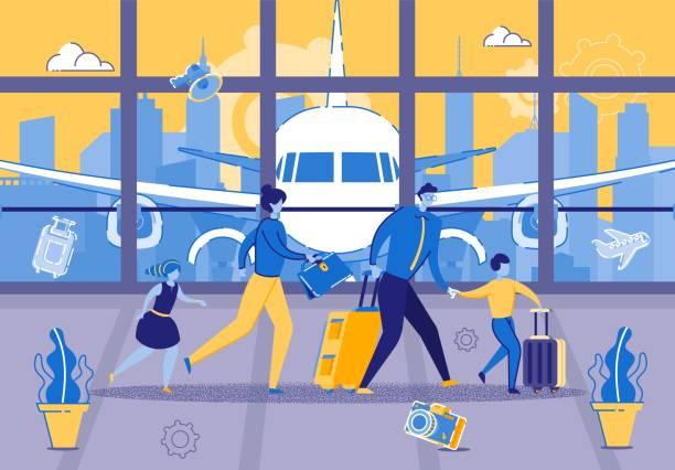 illustrazioni stock, clip art, cartoni animati e icone di tendenza di young family is in hurry for flight at airport - holiday and invoice family