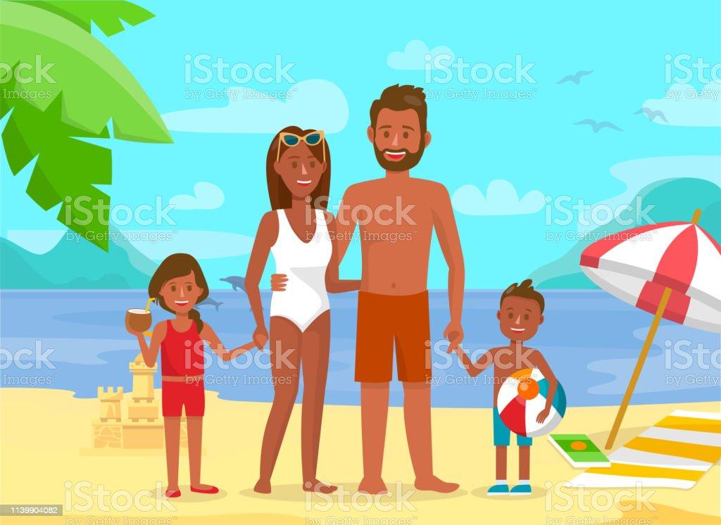 Jeune famille sur les vacances d'été plat illustration - clipart vectoriel de Adulte libre de droits