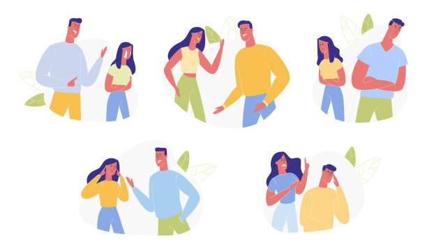 stockillustraties, clipart, cartoons en iconen met jonge familie ruzie en zweren set menselijke relaties - couple fighting home