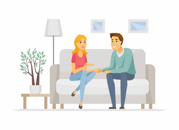 Young family talking - cartoon people characters illustration Young family talking - cartoon people characters illustration. High quality composition with wife and husband, couple sitting on a couch, holding hands, discussing their problems in the living room young couple stock illustrations