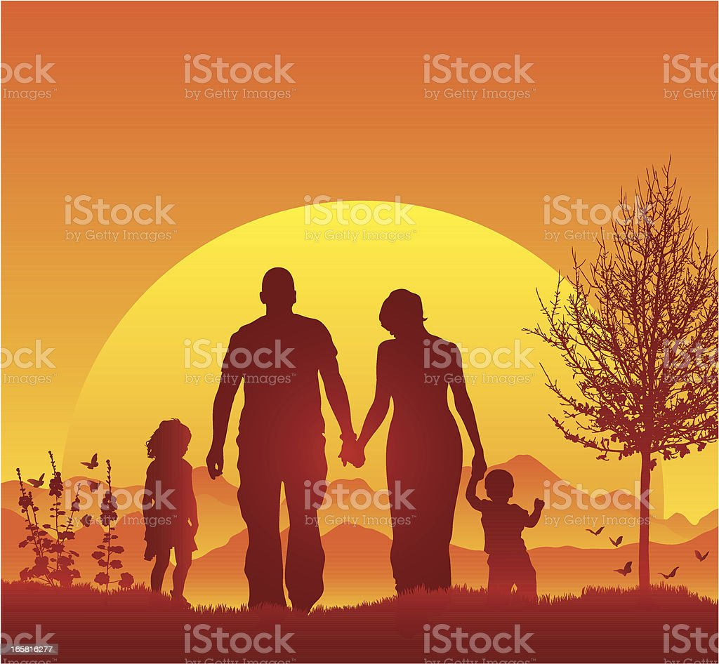 Young family walking in silhouette during a beautiful sunset vector art illustration