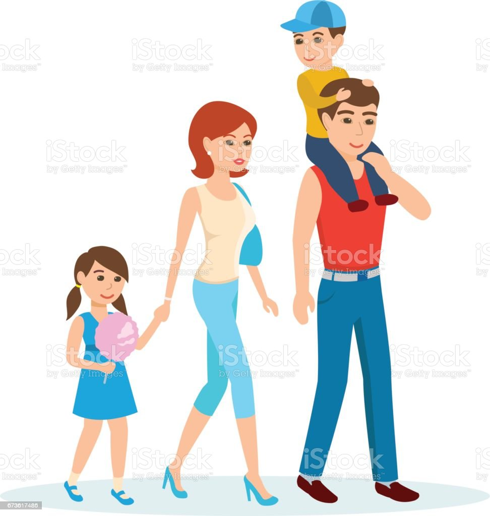 A young family walks in the Park with children vector art illustration