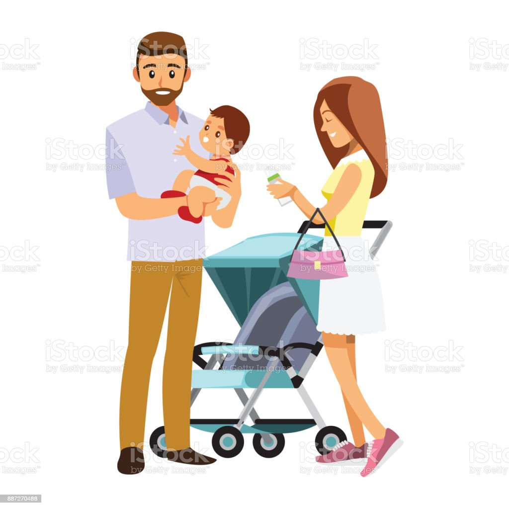 young family with baby in stroller ,Vector illustration cartoon character vector art illustration