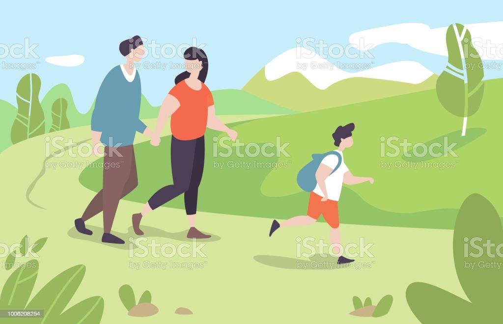 Junge Familie mit Kind Wandern im park – Vektorgrafik