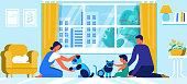 Young Family with Little Baby Playing with Robot Pets Cat and Dog at Home. Cute Kid Boy and Parents Playing with Interactive Toys. Robotics Digital Technology Concept. Cartoon Flat Vector Illustration
