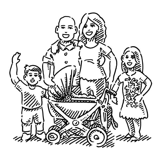Young Family With Three Children Drawing Hand-drawn vector drawing of a Young Family With Three Children, the baby is in a pram. Black-and-White sketch on a transparent background (.eps-file). Included files are EPS (v10) and Hi-Res JPG. women stock illustrations