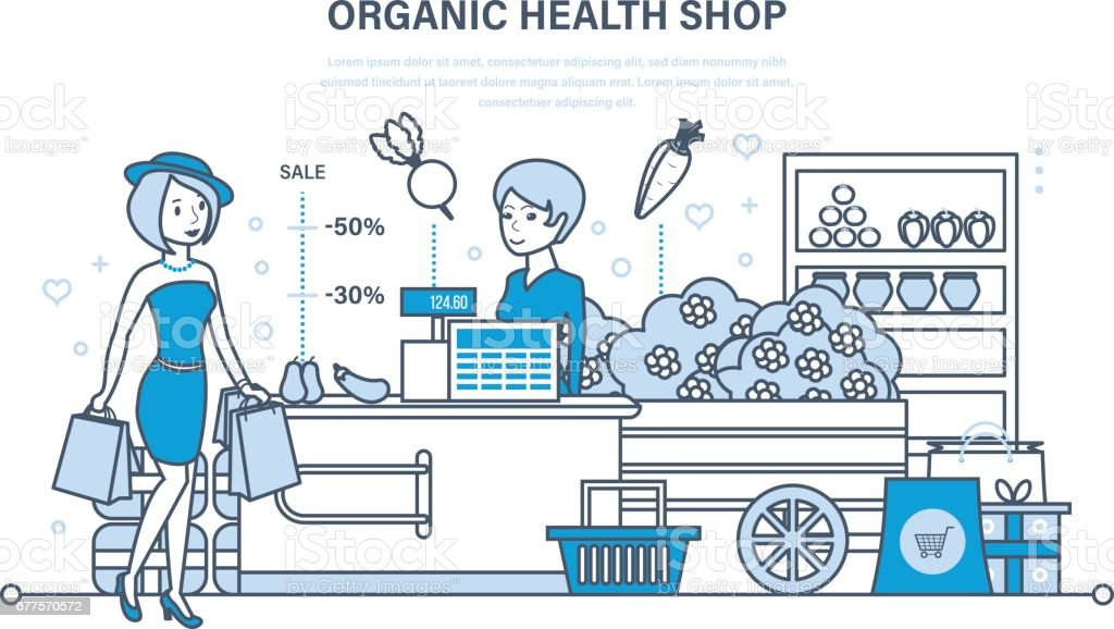 Young fashion girl attends organic health store with large shopping royalty-free young fashion girl attends organic health store with large shopping stock vector art & more images of adult