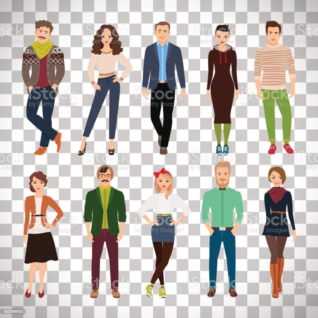 Jovem moda pessoas em fundo transparente - ilustração de arte em vetor