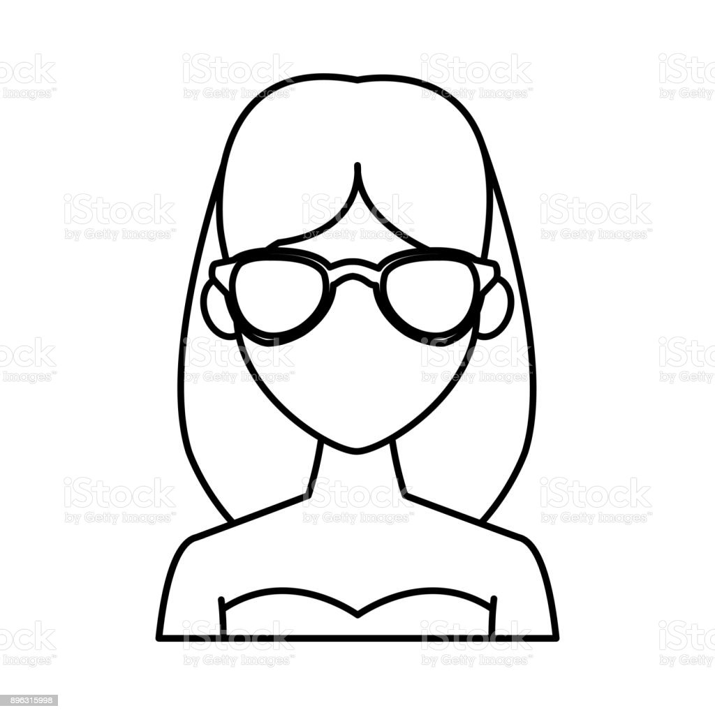 Jeune Femme Avec Dessin Anime Lunettes De Soleil De Mode Cliparts