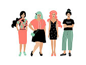 Young fashion women, stylish girls on white background. Plump and slim women, Four women girlfriends, hipster style. Vector flat design