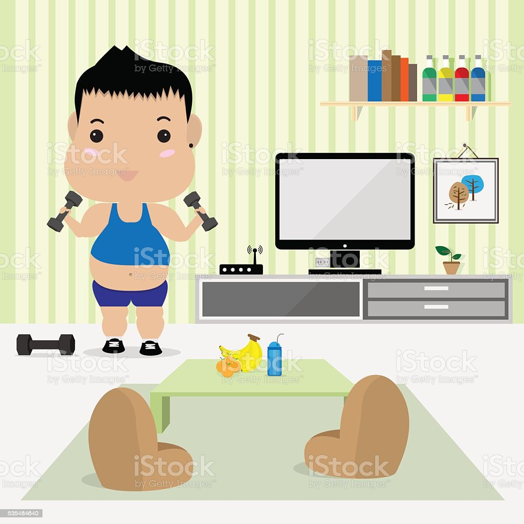 Young Fat Man Work Out In Living Room Stock Vector Art