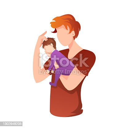 Young father holding newborn baby in his arms. Fatherhood, Parenthood, Childhood, Father's Day, Happy family concept.