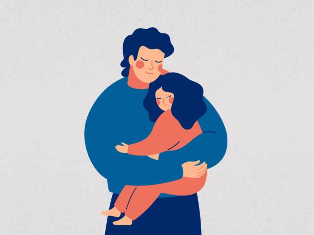 ilustraciones, imágenes clip art, dibujos animados e iconos de stock de padre joven sostiene a su hija con cuidado y amor - hija