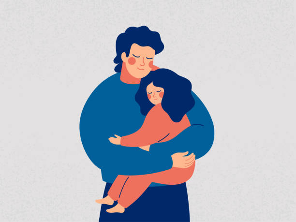 Young father holds his daughter with care and love Young father holds his daughter with care and love. Happy Fathers Day concept with daddy and small girl. Vector illustration daughter stock illustrations