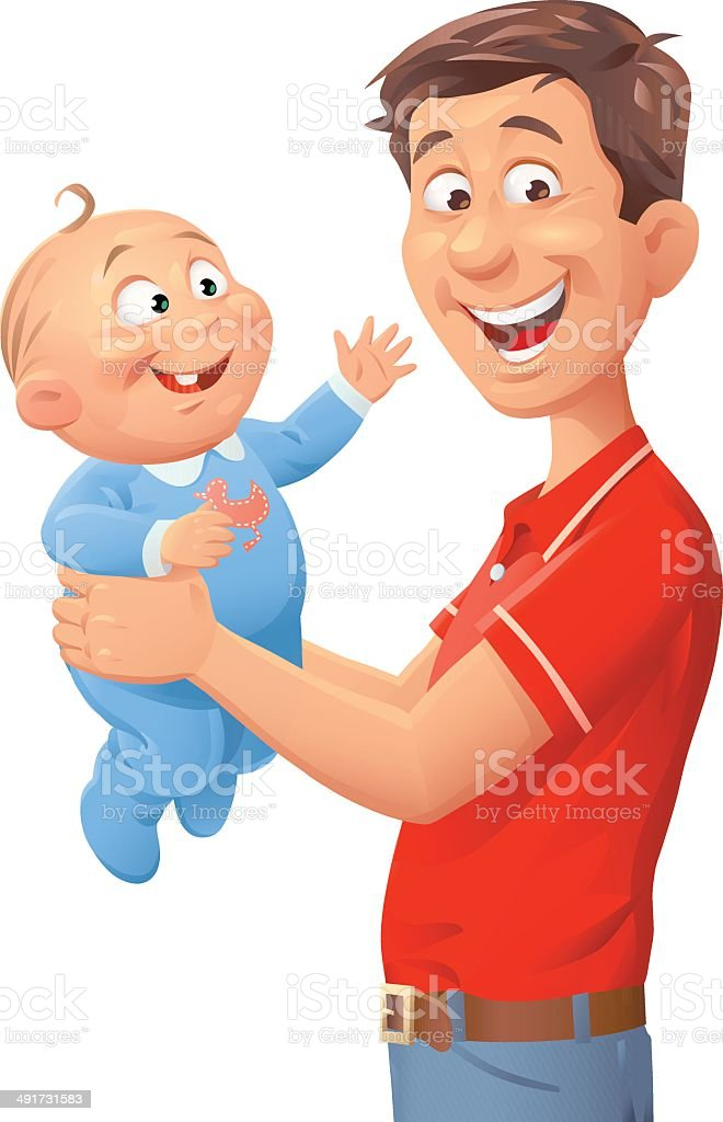 Young Father With Baby vector art illustration