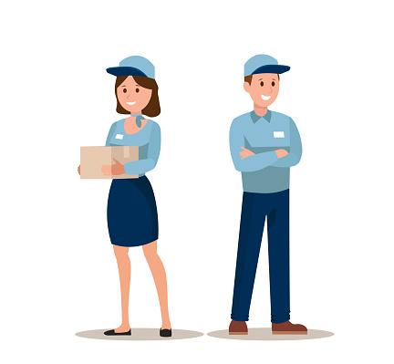 Young female and male Cargo workers keeping records of boxes. Flat vector illustration packages of cargo workers in hats and uniforms. Logistics, shipping concept for banner, website design or landing web page.