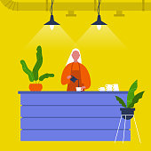Young female barista pouring coffee at the bar counter. Cafe. Loft interior. Modern lifestyle. Flat editable vector illustration, clip art