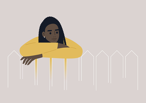 A young female Black character leaning on a wooden fence, a neighborhood life, outdoors