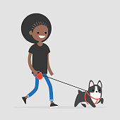 Young female black character walking a dog. Pet owner. Flat editable vector illustration, clip art