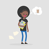 Young female black sleepy manager dreaming about coffee. Morning at the office. Daily life. Flat editable vector illustration, clip art