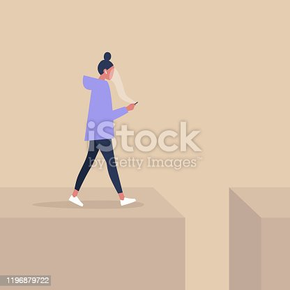 Young female character addicted to smart phone striding to the abyss, nomophobia, millennial lifestyle