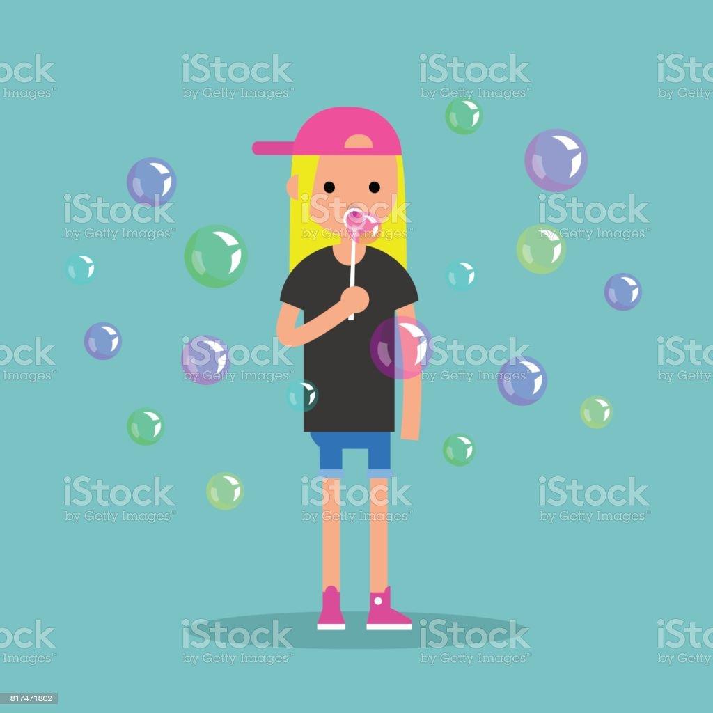 Young female character blowing soap bubbles / flat editable vector illustration, clip art vector art illustration