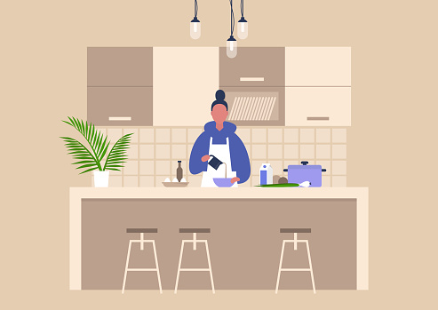 Young female character cooking food at home, healthy lifestyle, culinary blog
