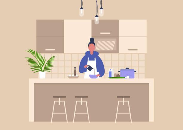 bildbanksillustrationer, clip art samt tecknat material och ikoner med ung kvinnlig karaktär matlagning mat hemma, hälsosam livsstil, kulinariska blogg - kitchen