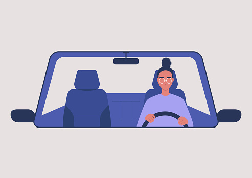 Young female character driving a car, millennial lifestyle