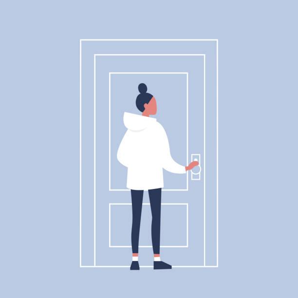 ilustraciones, imágenes clip art, dibujos animados e iconos de stock de personaje femenino joven sosteniendo la perilla de una puerta. entrar en el edificio. ilustración de vector completamente editable, prediseñadas - cabello castaño