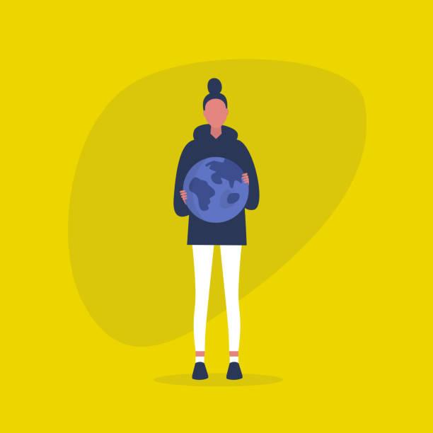지구를 들고 젊은 여성 캐릭터. 지속 가능성. 생태. 환경 대화. 보호 및 안전. 미래. 플랫 편집 가능한 벡터 일러스트레이션, 클립 아트 - future stock illustrations