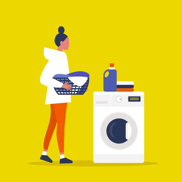 junge weibliche figur mit einem wäschekorb. waschsalon. waschmittel. tägliches chores konzept. flache vektorillustration, clip-kunst - waschmaschine stock-grafiken, -clipart, -cartoons und -symbole
