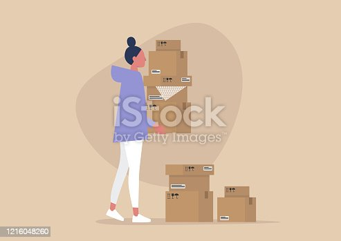 istock Young female character holding a pile of cardboard boxes, delivery service, courier 1216048260