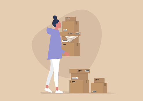 Young female character holding a pile of cardboard boxes, delivery service, courier