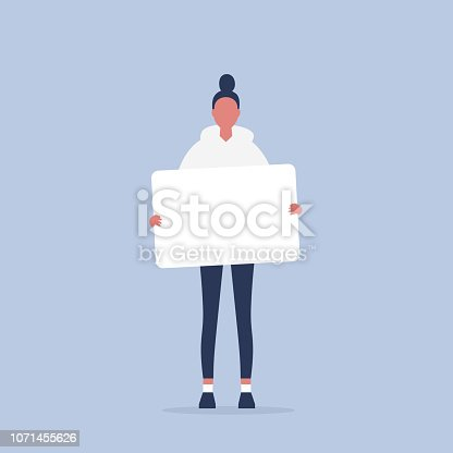Young female character holding a sheet of white paper. Copy space. Your text here, template. Flat editable vector illustration, clip art