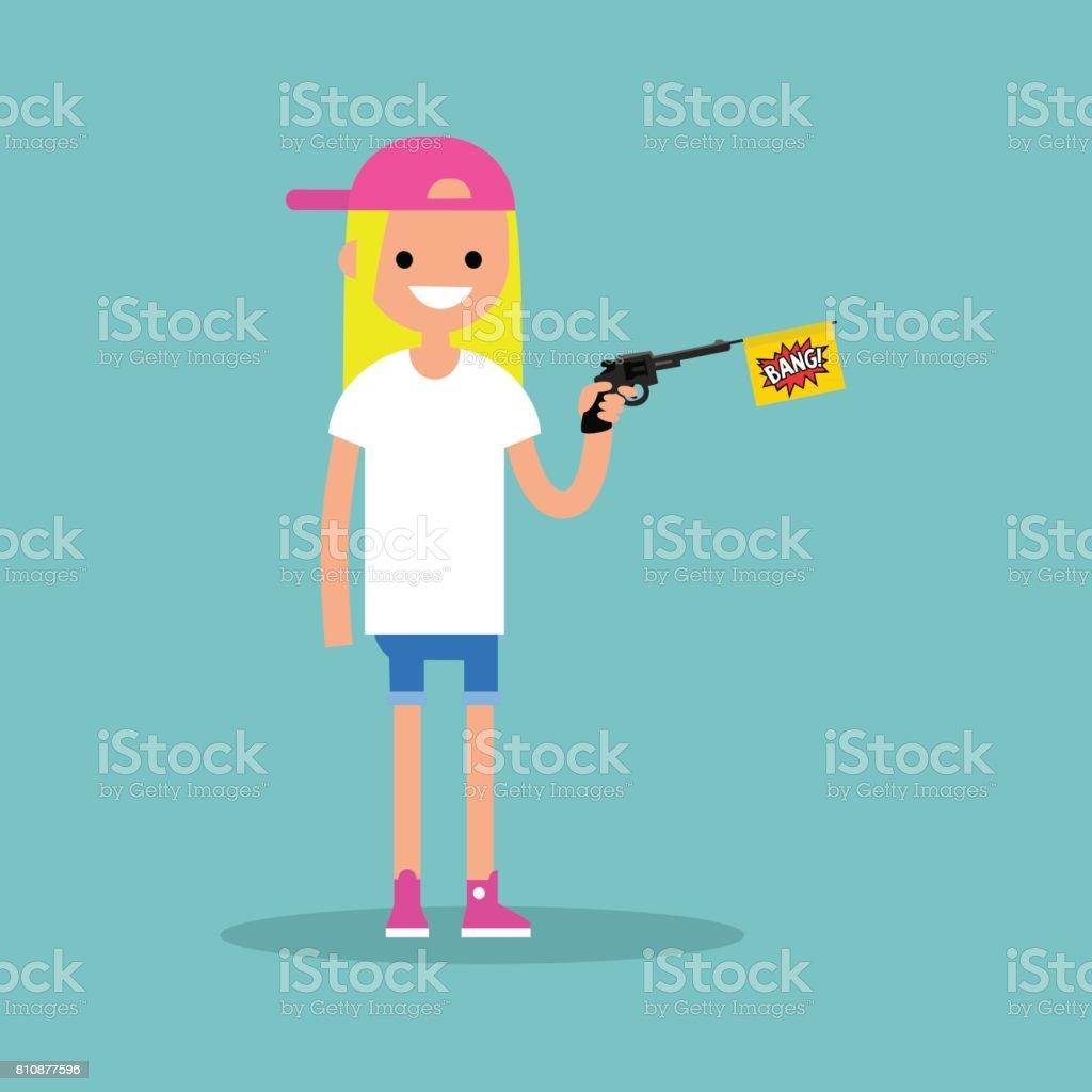 Joven protagonista sostiene una pistola de juguete con una bandera de bang / plano editable vector Ilustración, imágenes prediseñadas - ilustración de arte vectorial