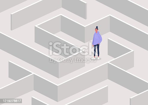 istock Young female character in a maze, strategical thinking and troubleshooting, business concept 1219278817