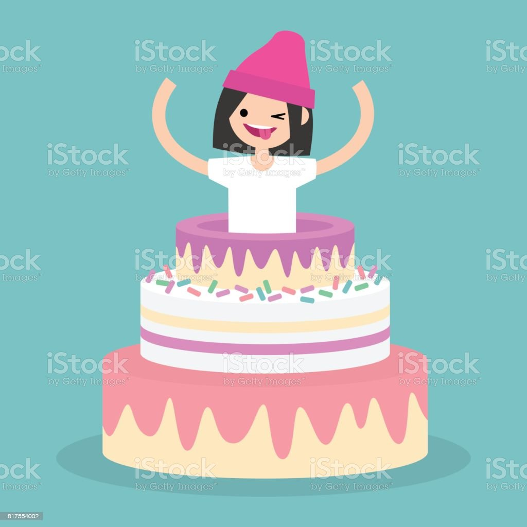 Young Female Character Jumping Out Of A Cake Flat Editable Vector