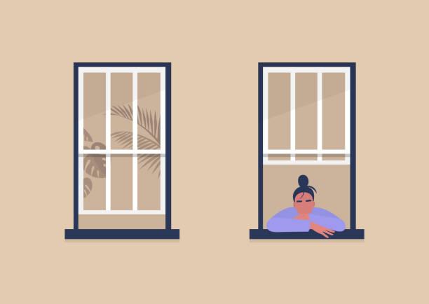 młoda postać kobieca patrząca przez okno, samoizolacja i nuda, kwarantanna - okno stock illustrations