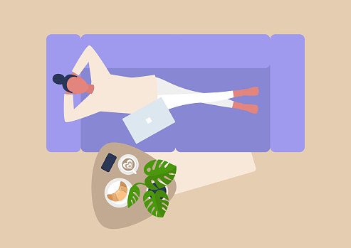 Young female character lying down on sofa, top view, living room, relaxation