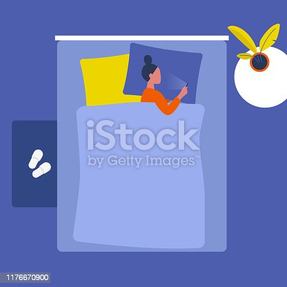 istock Young female character lying with a smartphone in bed . Social media. Millennials. Insomnia. Top view. Interior design. Flat editable vector illustration, clip art 1176670900