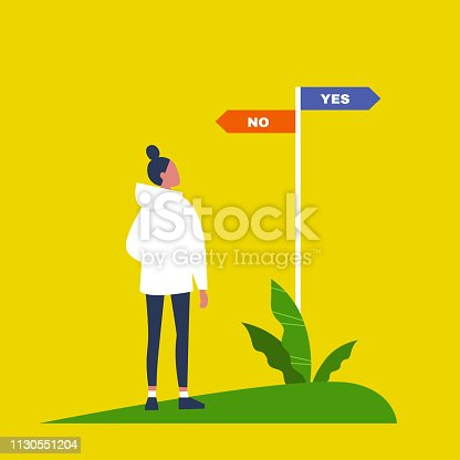 Young female character making a decision. Navigating signpost showing the opposite directions. Yes No alternatives. Flat editable vector illustration, clip art