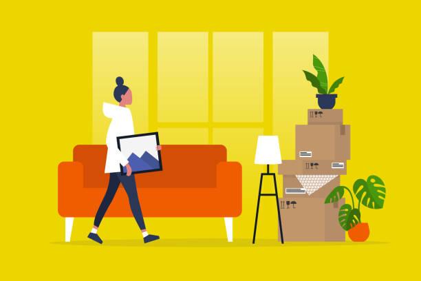 ilustrações, clipart, desenhos animados e ícones de caráter fêmea novo que move-se para um apartamento novo. deslocalização. hipoteca. ilustração editable lisa do vetor, arte de grampo - casa nova