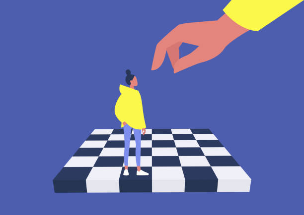 young female character on a chess board, manipulation and domination, pawn, business strategy, obedience - marionetka stock illustrations