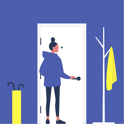 Young female character opening a front door, furnished apartment corridor, lifestyle, daily life